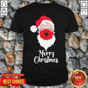 Santa Claus Face Mask Albania Flag Merry Christmas Shirt - Design by Tshirttop