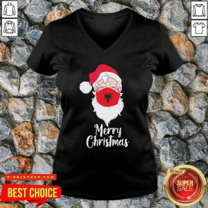 Santa Claus Face Mask Albania Flag Merry Christmas V-neck - Design by Tshirttop