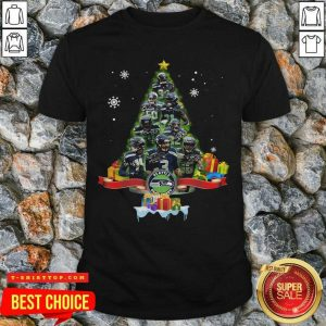 Seattle Seahawks Player Signatures Christmas Tree Shirt - Design by Tshirttop