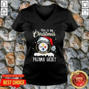 This Is My Christmas Pittsburgh Steelers Pajama V-neck - Design by Tshirttop