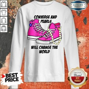Cheated Converse And Pearls Will Change The World 5 Kamala Harris Sweatshirt - Design by T-shirttop.com