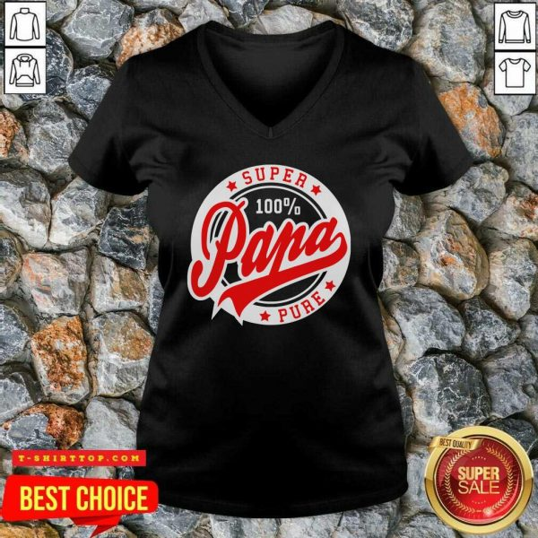 Nice Super Papa 100 Percent Pure Stars Seal V-neck - Design by Tshirttop