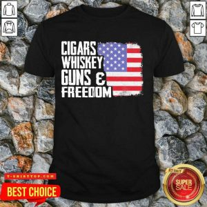 Cigars Whiskey Guns And Freedom 5 American Flag Shirt - Design by T-shirttop.com