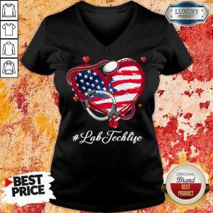 America Nurse Heart Lab Tech Life V-neck