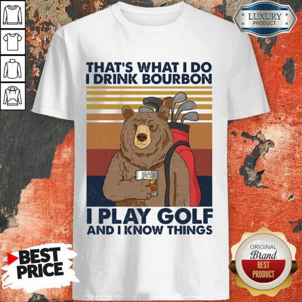 Bear I Drink Bourbon I Pay Golf Shirt