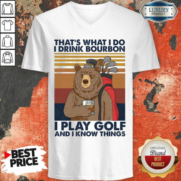 Bear I Drink Bourbon I Pay Golf V-neck