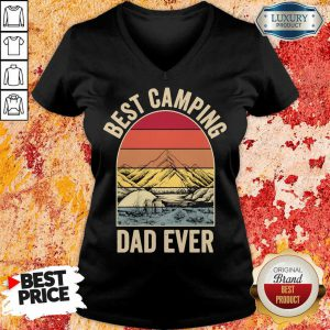 Best Camping Dad Ever Fathers Day Mountain Vintage V-neck