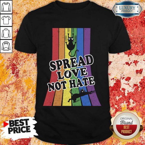 LGBT Black Cat Spread Love Not Hate Shirt