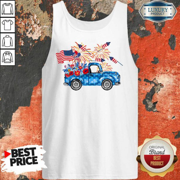 Pickup Truck 4th Of July American Flag Tank Top