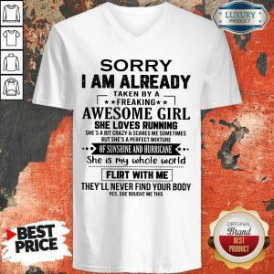 Sorry I'm Already Awesome Girl V-neck